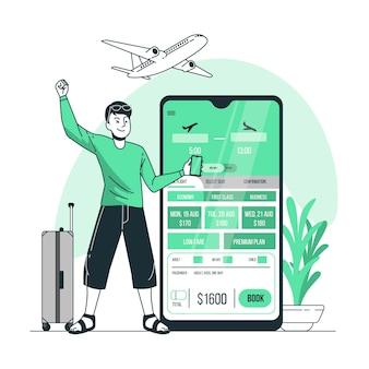 Illustration de concept de réservation de vol