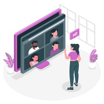 Illustration de concept de réunion à distance