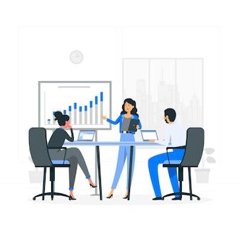 Illustration de concept de réunion de pitch