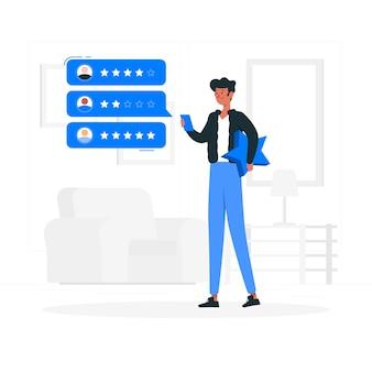 Illustration de concept de revue en ligne
