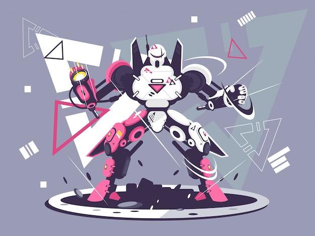 Illustration de concept de robot de combat plat