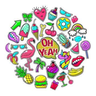 Illustration de concept rond pop art patchs colorés