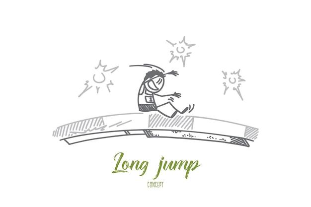 Illustration de concept de saut en longueur