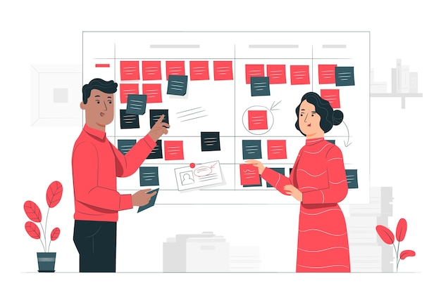 Illustration de concept de scrum board