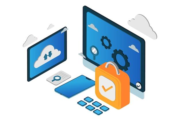 Illustration de concept de sécurité cloud isométrique moderne