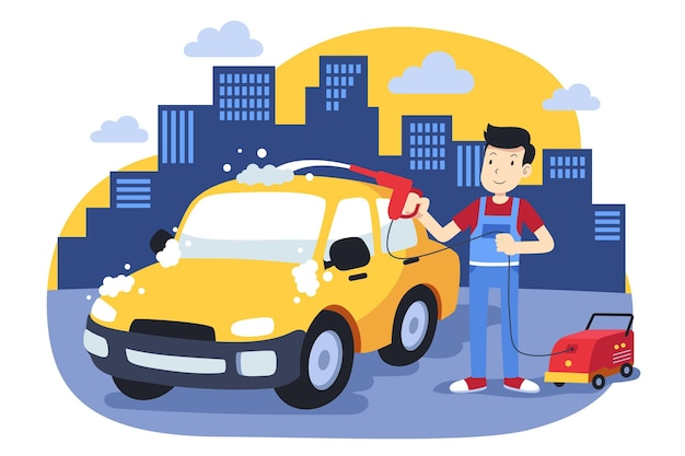 Illustration de concept de service de lavage de voiture plat