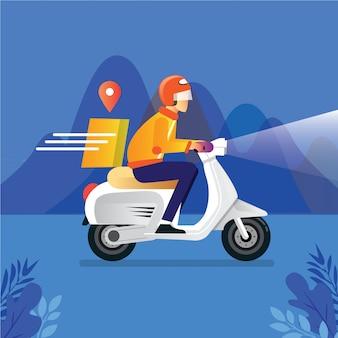 Illustration de concept de service de livraison de colis alimentaires