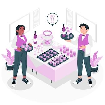 Illustration de concept de service de restauration