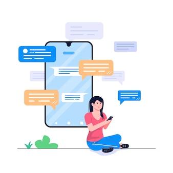 Illustration de concept de sms