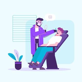 Illustration de concept de soins dentaires de dessin animé