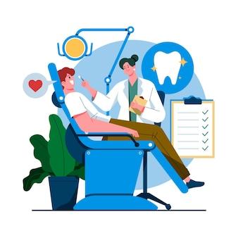 Illustration de concept de soins dentaires