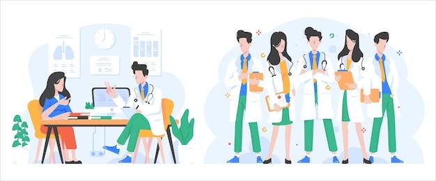 Illustration de concept de soins de santé et de médecine dans un style design dégradé plat