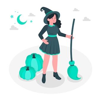 Illustration de concept de sorcière
