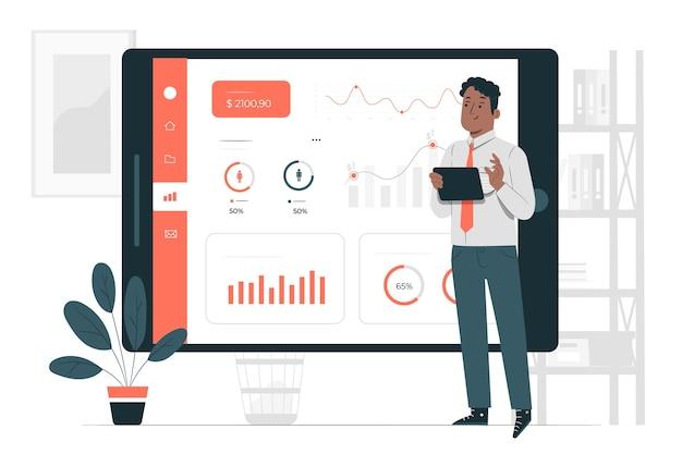 Illustration de concept de statistiques de conception