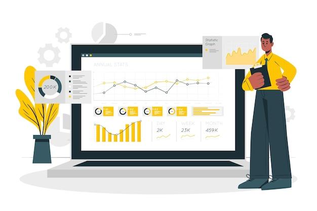 Illustration de concept de statistiques de site