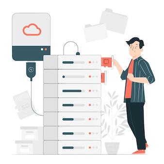 Illustration de concept de stockage de mémoire