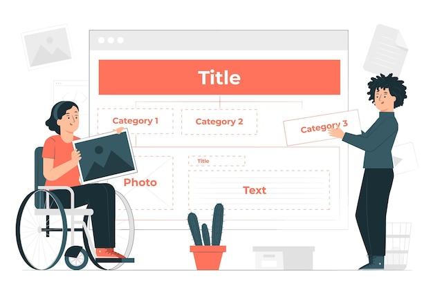 Illustration de concept de structure de contenu