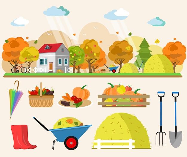 Illustration de concept de style plat de paysage d'automne avec maison, pluie, meules de foin, paniers de légumes, arbres, outils pour jardin. ensemble de vecteur