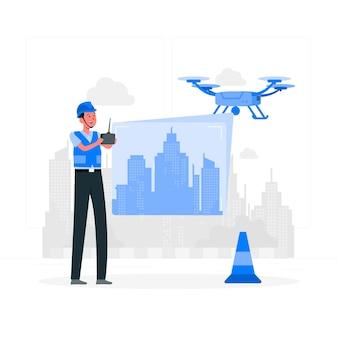 Illustration de concept de surveillance de drone