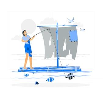 Illustration de concept de survivant de naufrage