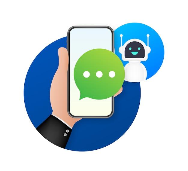 Illustration de concept de symbole chatbot