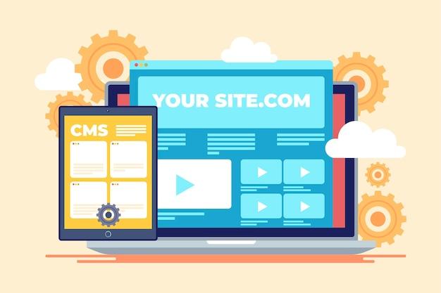 Illustration de concept de système de gestion de contenu plat