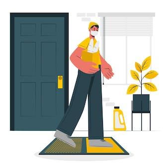 Illustration de concept de tapis désinfectant