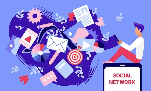 Illustration de concept de technologie de contenu de médias sociaux