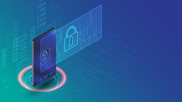Illustration de concept de technologie d'entreprise de sécurité des données de smartphone