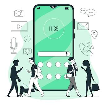 Illustration de concept de téléphone portable