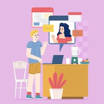 Illustration de concept de télétravail