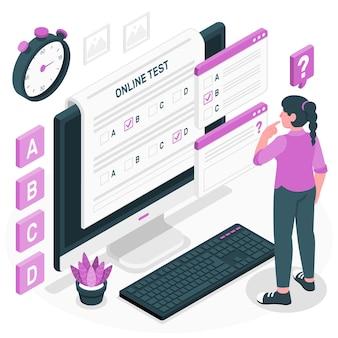 Illustration de concept de test en ligne