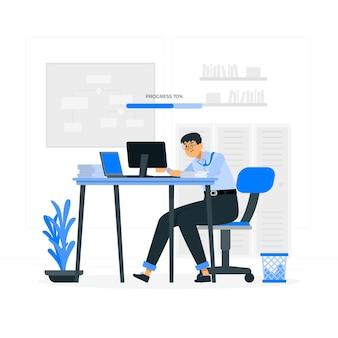 Illustration de concept de travail en cours