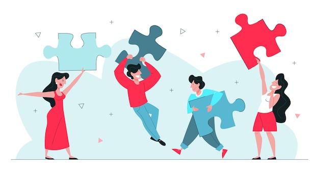 Illustration de concept de travail d'équipe. idée de travailler ensemble.