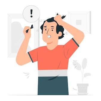Illustration de concept de trouble tirant les cheveux