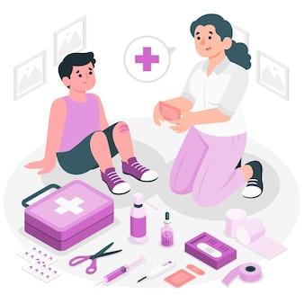 Illustration de concept de trousse de premiers soins