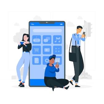 Illustration de concept d'utilisateur mobile