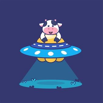 Illustration de concept de vache mignonne équitation ufo