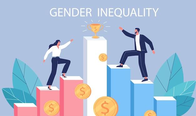 Illustration de concept de vecteur d'inégalité entre les sexes jeune homme et femme gravir les échelons de carrière