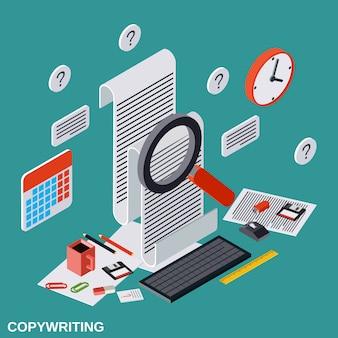 Illustration de concept de vecteur plat isométrique copywriting