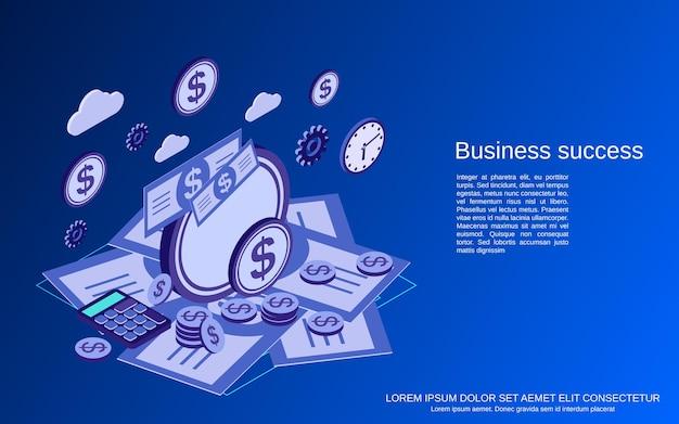 Illustration de concept de vecteur plat isométrique de succès commercial