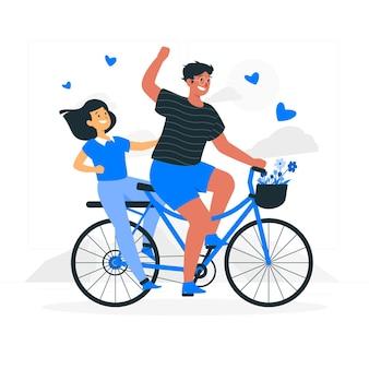 Illustration de concept de vélo couple