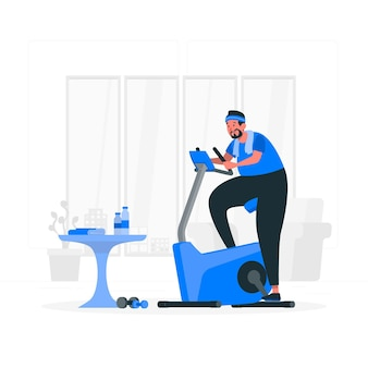 Illustration de concept de vélo d'intérieur