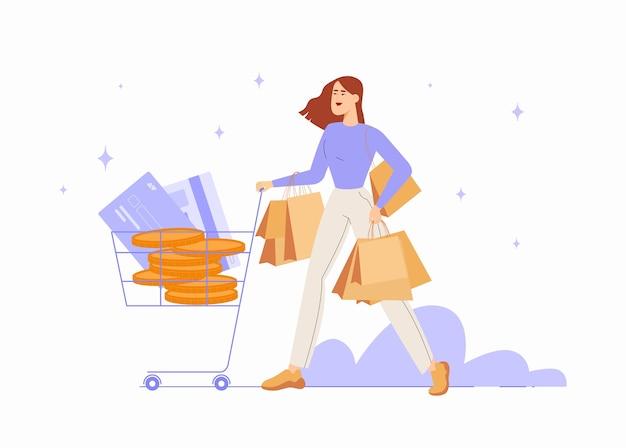 Illustration de concept vendredi noir dans un style plat. personnage féminin avec chariot et sacs.