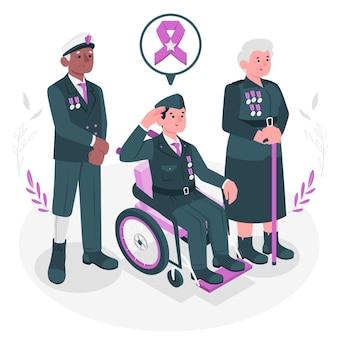 Illustration de concept de vétérans