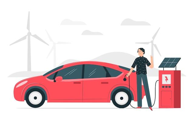 Illustration de concept de voiture électrique
