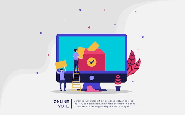 Illustration concept vote en ligne et élection, système internet de vote électronique, les gens donnent le vote en ligne et mettre le vote de papier dans le concept d'illustration vectorielle urne.