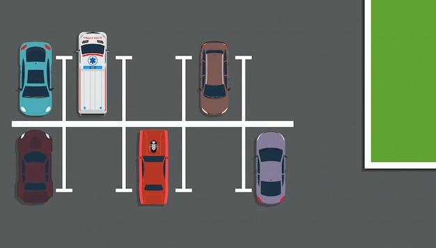 Illustration de concept vue de dessus de parc. plan de la rue au-dessus de la voiture