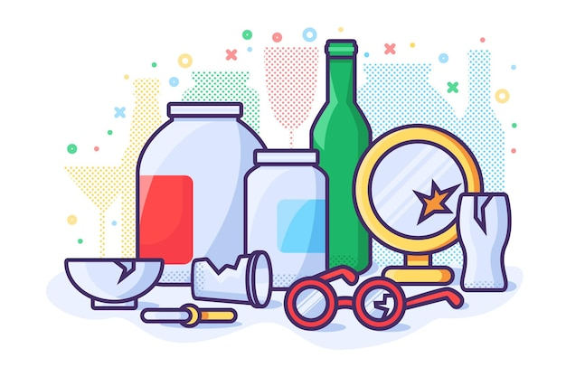 Illustration de concept zéro déchet. poubelle de danger en verre. vecteur