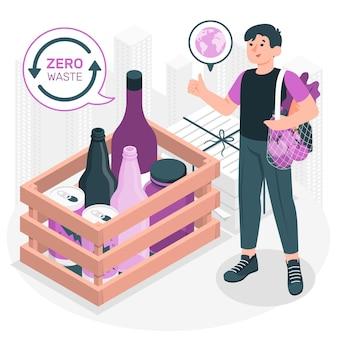 Illustration de concept zéro déchet
